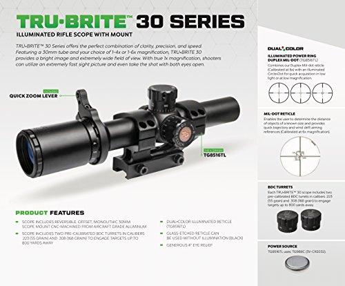 TRUGLO Rifle Scope 3 TRUGLO TRU-Brite 30 Series 1-6 X 24mm Dual-Color Illuminated-Reticle Rifle Scope with Mount, Matte Black, 1-6 x 24mm/40mm/30mm (TG8516TL)