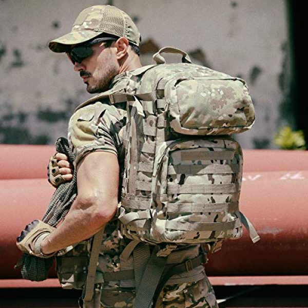 MT Tactical Backpack 7 MT Military FILBE Assault Pack with Assault Pouch, Army Tactical Rucksack Backpack Multicam