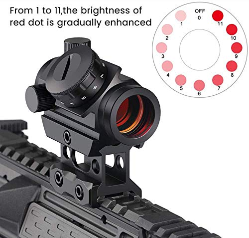 TTHU Rifle Scope 6 TTHU Rifle Scopes Red Dot Sight 1X25 Sights Reflex with 20Mm Rail Mount & Increase Riser Rail for Hunting Scopes