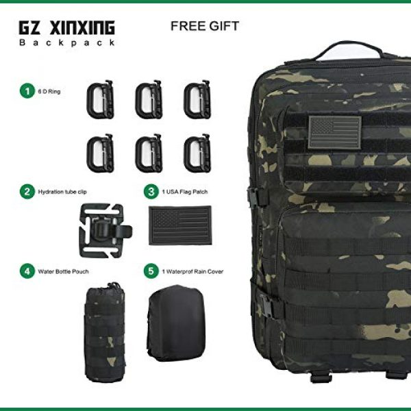 GZ XINXING Tactical Backpack 2 GZ XINXING 43L Large 3 day Molle Assault Pack Military Tactical Army Backpack Bug Out Bag Rucksack Daypack