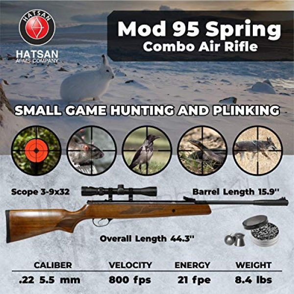 Wearable4U Air Rifle 2 Hatsan Mod 95 Spring Combo Air Rifle with Wearable4U 100x Paper Targets and Lead Pellets Bundle