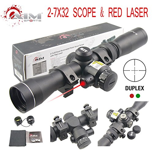 TACFUN Rifle Scope 2 TACFUN AIM Sports 2-7X32MM Long Eye Relief Scout Scope with RED Laser & Duplex Reticle