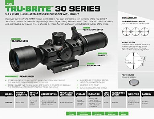 TRUGLO Rifle Scope 5 TRUGLO TRU-BRITE 30 Series Illuminated Tactical Rifle Scope - Includes Scope Mount, 3-9 x 42mm
