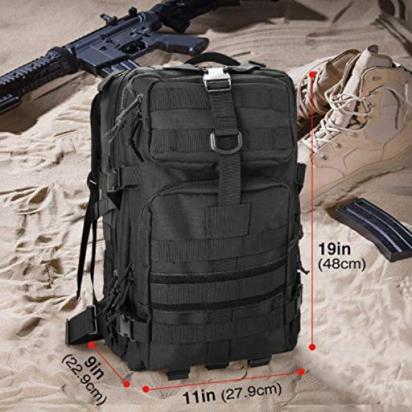 ProCase Tactical Backpack 2 ProCase Military Tactical Backpack, 35L Large Capacity Rucksacks 2 Day Army Assault Pack Go Bag for Hunting, Trekking, Camping and Other Outdoor Activities -Black