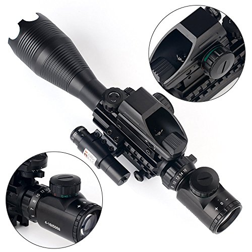 THEA Rifle Scope 3 THEA 4-16x50 Tactical Rifle Scope Red/Green Illuminated Range Finder Reticle W/Green Laser and Holographic Reflex Dot Sight (12 Month Warranty)