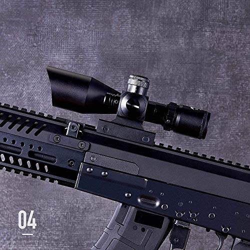 QILU Rifle Scope 3 QILU 2.5-10x40e Red & Green Illuminated Scope, Red Dot Scope Airsoft Scope Reflex Sight Gun Sights with Red Laser & 20mm Mounts