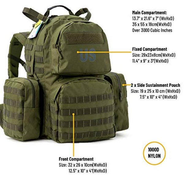 Akmax.cn Tactical Backpack 3 Military Army Backpack, MOLLE 2 Medium Rucksack with Removeable Shoulder Straps and Wasit Belt, Internal Frame