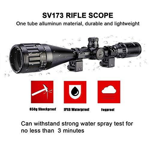 SVBONY Rifle Scope 6 SVBONY SV173 4-16x50AO Rifle Scope Red Green Blue Illuminated Mil Dot with 20mm Free Mount and Parallax Adjustment