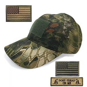 DOngRWF Tactical Hat 1 DOngRWF Outdoor Sport Military Tactical Cap, Army Hat Hunting Camouflage Strip Type Loop Behind Baseball Cap Include 3 Pieces Tactical Military Patches
