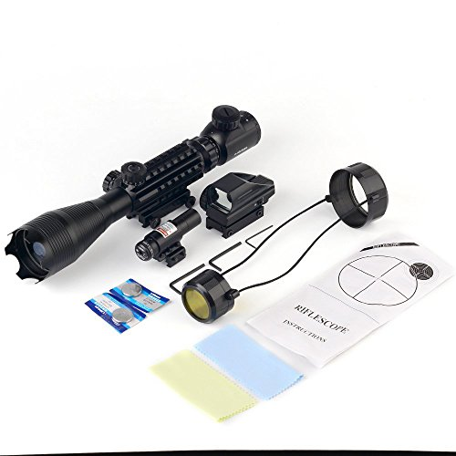 THEA Rifle Scope 7 THEA 4-16x50 Tactical Rifle Scope Red/Green Illuminated Range Finder Reticle W/Green Laser and Holographic Reflex Dot Sight (12 Month Warranty)