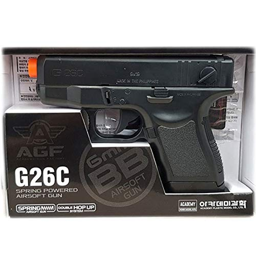 Academy Plastic Model Airsoft Pistol 1 Academy Plastic Model G26C Spring Powered Airsoft BB Gun with Double Hop Up System 17235, Black