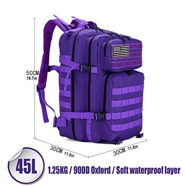 LHI Tactical Backpack 2 LHI Military Tactical Backpack for Men and Women 45L Army 3 Days Assault Pack Bag Large Rucksack with Molle System - Purple