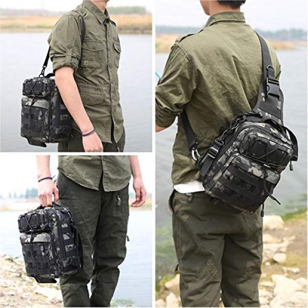 CamGo Tactical Backpack 2 Tactical Sling Backpack Fly Fishing Tackle Bag Unisex MOLLE Casual Daypack for Fishing Hunting Hiking Trvel