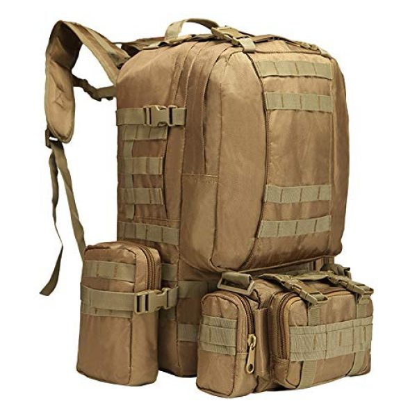 Suoki Tactical Backpack 1 Tactical Backpack 55L with Built-up 3 MOLLE Bags Rucksacks for Travelling