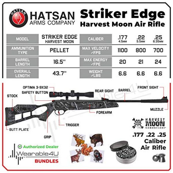 Wearable4U Air Rifle 3 Hatsan Striker Edge Spring Harvest Moon Combo Air Rifle with Wearable4U 100x Paper Targets and Lead Pellets Bundle