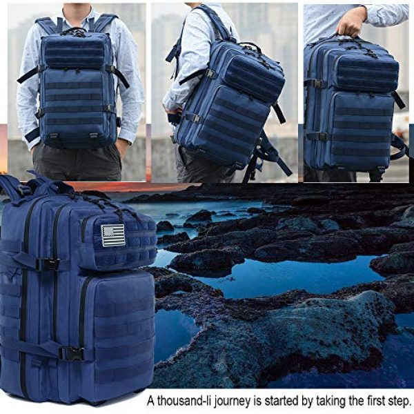 LHI Tactical Backpack 6 LHI Military Tactical Backpack for Men and Women 45L Army 3 Days Assault Pack Bag Large Rucksack with Molle System - Blue