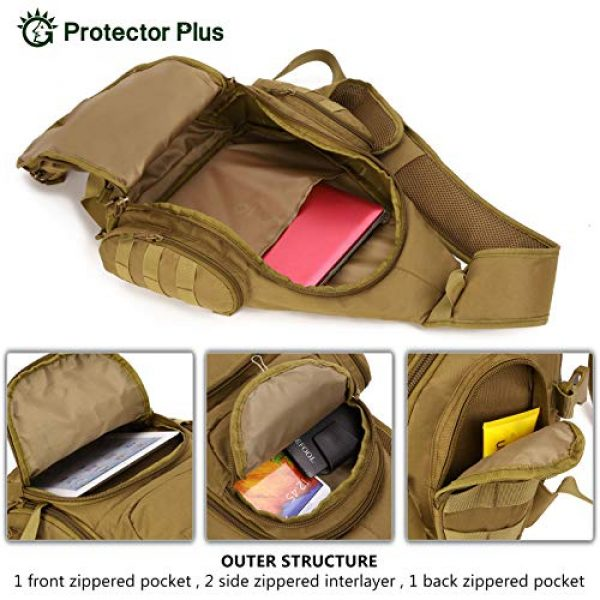 Protector Plus Tactical Backpack 6 Protector Plus Tactical Sling Bag Military MOLLE Crossbody Pack (Patch Included)