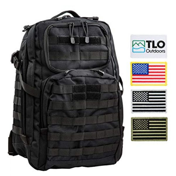 TLO Outdoors Tactical Backpack 2 TLO TacPack24 Tactical Backpack - 40L Storage Daypack, Rucksack with MOLLE, Patches