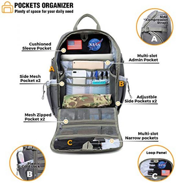 DBTAC Tactical Backpack 5 DBTAC Tactical Backpack Molle Hiking Daypack 25L with Laptop/Hydration Pockets
