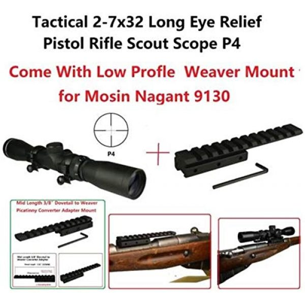 GOTICAL Rifle Scope 4 GOTICAL 2-7x32 Long Eye Relief Scope P4 with Low Profile Mosin Nagant 91/30 Scope Mount | Tapered 13mm Dovetail Rail and 1'' Scope Tube Diameter - Black Color