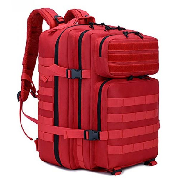 LHI Tactical Backpack 1 LHI Military Tactical Backpack for Men and Women 45L Army 3 Days Assault Pack Bag Large Rucksack with Molle System - Red