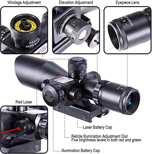 QILU Rifle Scope 4 QILU 2.5-10x40 Rifle Scope - Illuminated Red & Green Mil-dot Reticle - Gun Sights - Perfect As A Hunting Scope - Rifle Scope - Red Dot Scope - with 20mm Mounts