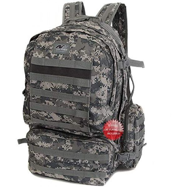 NPUSA Tactical Backpack 2 NPUSA Mens 22 Inch Large Military Tactical Gear Molle Hydration Ready Hiking Backpack Bag + Flashlight