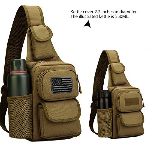 Protector Plus Tactical Backpack 4 Protector Plus Tactical Sling Bag Military MOLLE Crossbody Pack Chest Shoulder Backpack with Water Bottle Holder Pouch EDC Diaper Motorcycle Daypack (Patch Included)