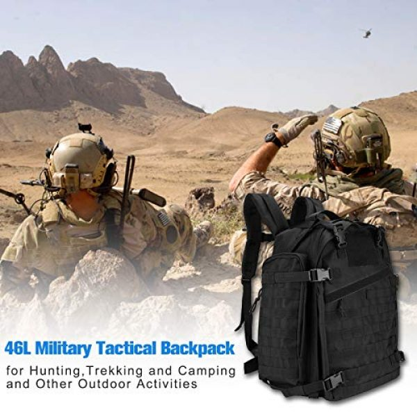 ProCase Tactical Backpack 3 ProCase 46L Military Tactical Backpack, Large 3 Day Outdoor Military Army Assault Pack Molle Bag for Hunting, Trekking, Camping and Other Outdoor Activities