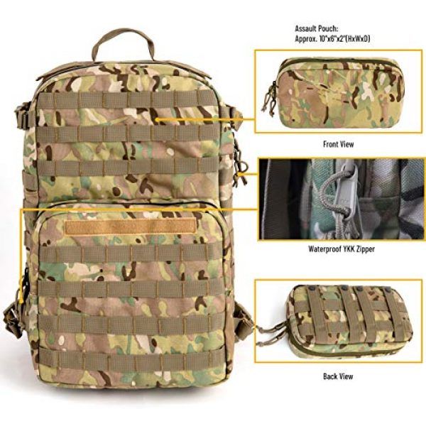 MT Tactical Backpack 3 MT Military FILBE Assault Pack with Assault Pouch, Army Tactical Rucksack Backpack Multicam