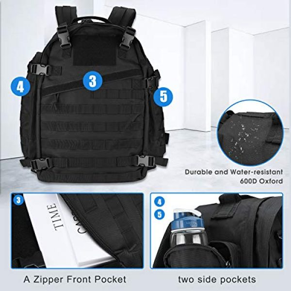 ProCase Tactical Backpack 5 ProCase 46L Military Tactical Backpack, Large 3 Day Outdoor Military Army Assault Pack Molle Bag for Hunting, Trekking, Camping and Other Outdoor Activities