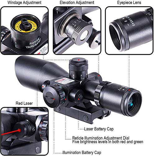 QILU Rifle Scope 5 QILU 2.5-10x40 Rifle S§ope - Illuminated Red & Green Mil-dot Reticle - Red Dot S§ope - Reflex Sight - Rifle S§ope - Holosun - with Red Laser & 20mm Mounts