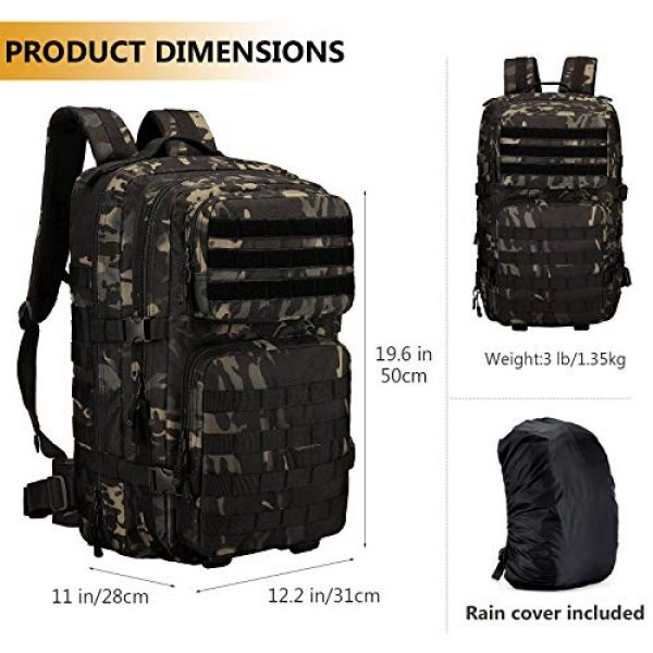 Protector Plus Tactical Backpack 3 Protector Plus Tactical Backpack MOLLE Military Assault 3 Daypack Army Pack Bug Out Bag (Rain Cover & Patch Included)