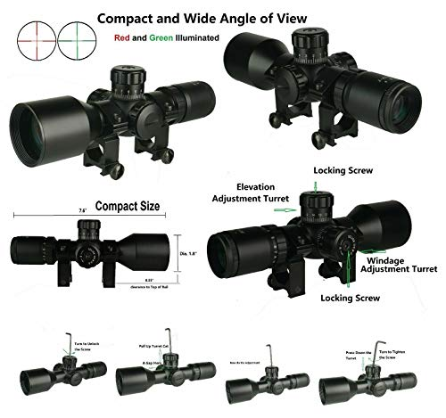 DB TAC INC Rifle Scope 5 DB TAC INC Compact 3-9x42 Red and Green Color Illuminated Scope Come with Rings