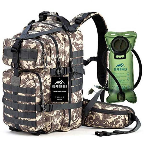 RUPUMPACK Tactical Backpack 1 Military Tactical Backpack Hydration Backpack by RUPUMPACK, Army MOLLE Bag, Small 3-Day Rucksack for Outdoor Hiking Camping Trekking Hunting School Daypack 33L with 3L Water Bladder