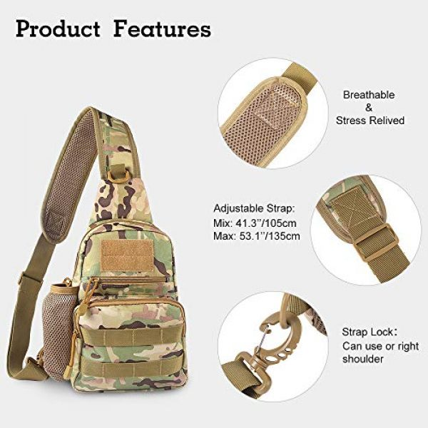 EDOBIL Tactical Backpack 5 EDOBIL Tactical Bag, Messenger Bag Best Outdoor Sling Bag for Men and Women - Small One Military Bag for Trekking,Camping,Hiking,Cycling Rover Sling Daypack