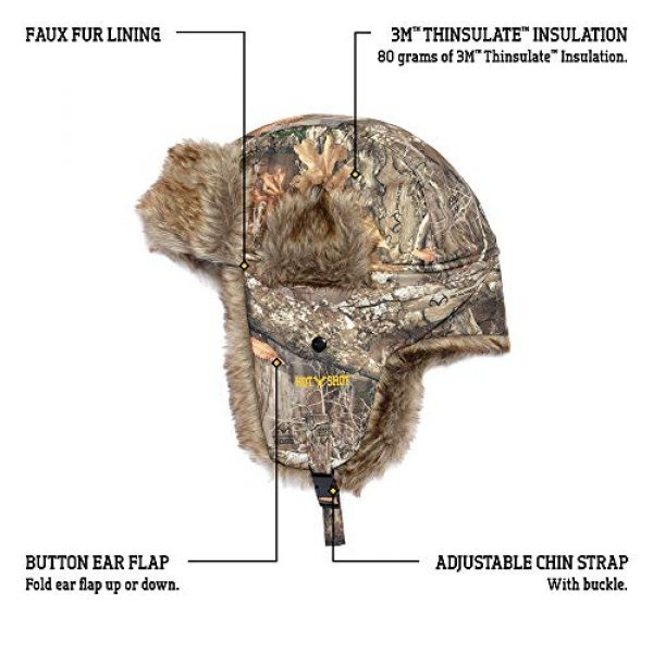"""HOT SHOT Tactical Hat 2 HOT SHOT Men's Camo Sabre Trapper Hat """" Realtree Edge Outdoor Hunting Camouflage Gear"""