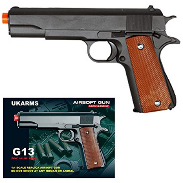 UKARMS Airsoft Pistol 1 UKARMS COLT 1911 Metal Airsoft Spring Action Pistol M1911 M9 Gun - Black