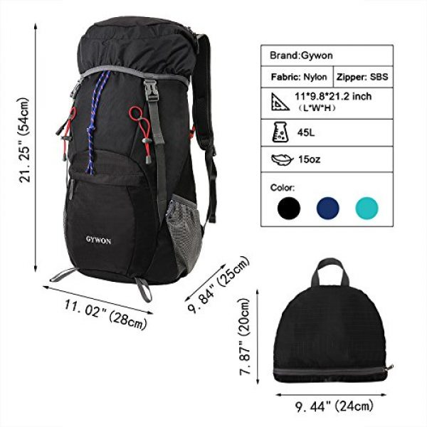 Gywon Tactical Backpack 2 Gywon Hiking-Daypacks-Travel-Backpack-Foldable-Carry-On Cabin Luggage Bag Water Resistant Lightweight 45L