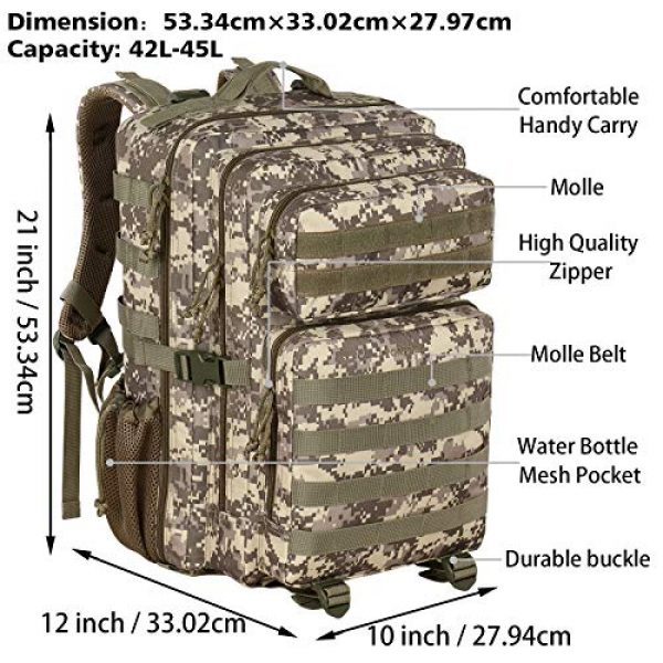 YOREPEK Tactical Backpack 3 Military Tactical Backpack 42L Large Army Rucksack 3 Day Assualt Pack Molle Bag