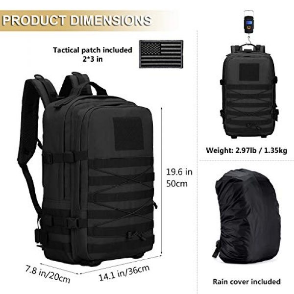ArcEnCiel Tactical Backpack 2 ArcEnCiel Tactical Backpack Military Army 3 Day Assault Rucksack Pack 45L Molle Pack with Patch - Rain Cover Included