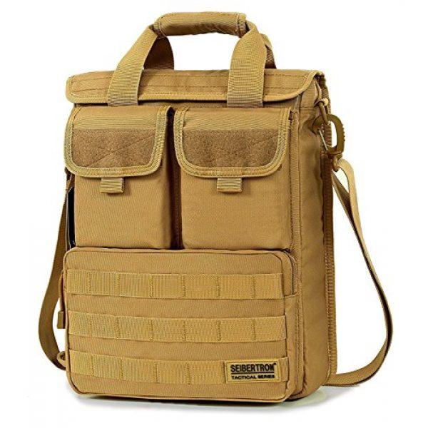 "Seibertron Tactical Backpack 1 Seibertron Expandable 14"" Laptop Waterproof Messenger Bag Multiple Pockets & Compartments Carry as Messenger Bags Khaki"