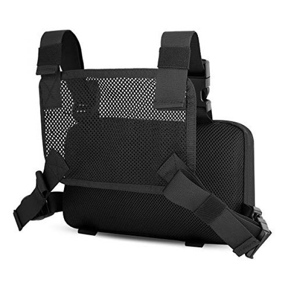 KRYDEX Tactical Backpack 2 KRYDEX Chest Bag Tactical Combat MOLLE Pouch Radio Chest Harness Front Chest Pouch Black