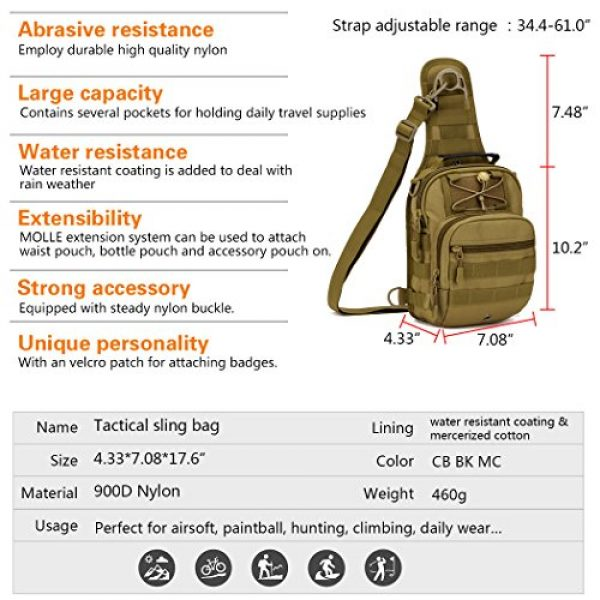 IDOGEAR SPORTS Tactical Backpack 3 IDOGEAR Tactical Sling Bag Pack Small EDC Molle Assault Military Army Shoulder Backpack