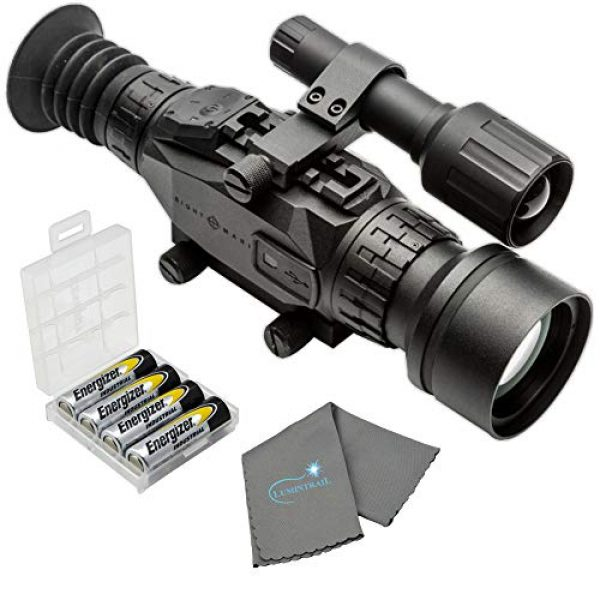 Sightmark Rifle Scope 1 Sightmark Wraith HD 4-32x50 Digital Riflescope Bundle with 4 AA Batteries, Battery Case and Lumintrail Cleaning Cloth