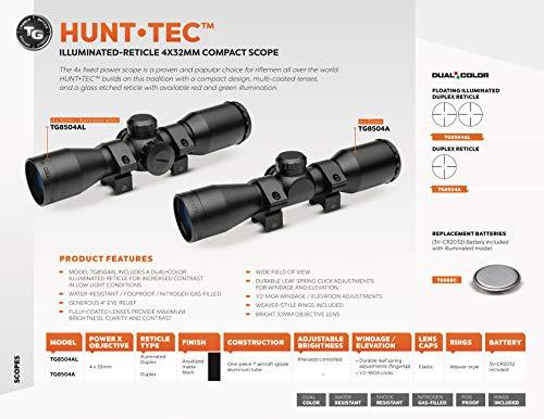 TRUGLO Rifle Scope 2 TRUGLO HuntTec Illuminated Reticle 4x32mm Compact Scope