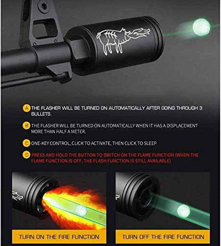 TTHU Airsoft Tracer Unit 4 Rifle Pistol Tracer Unit Tactical Airsoft Automatic Gun Pistol Light BBS Glow in Dark for 14Mm CCW / 10Mm CW Thread Airsoft Guns Pistol