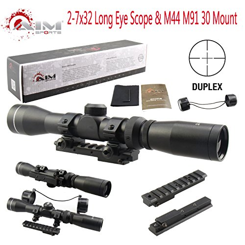 TACFUN Rifle Scope 2 TACFUN AIM Sports Mosin Nagant 2-7x32 Long Eye Relief Scope + M44 M91 30 Scout Mount Package