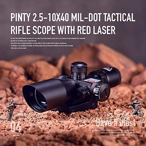 QILU Rifle Scope 3 QILU Rifle Scope 2.5-10X Dual Illuminated Mil-dot Gun Scopes with Red Laser & 20mm Mounts