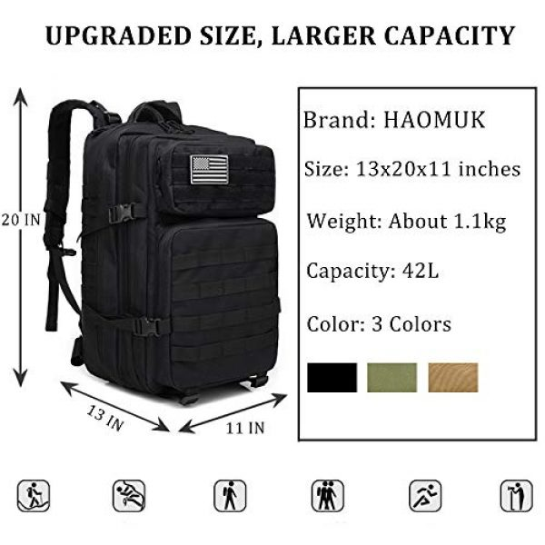 HAOMUK Tactical Backpack 2 HAOMUK Military Army Tactical Backpack Bag, Large 3 Day Assault Pack Army Molle Bag Backpacks Rucksack
